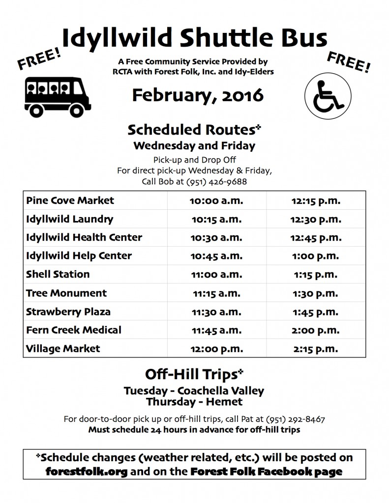 Forest Folk Bus Schedule February 2016