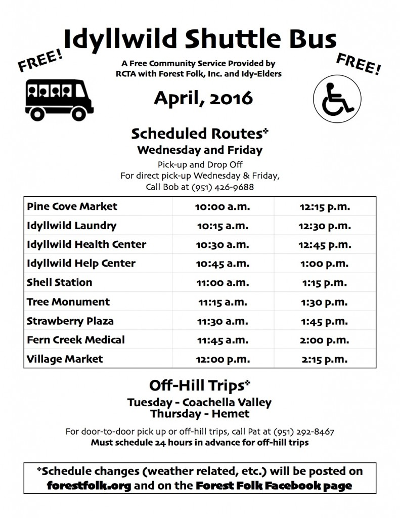Forest Folk Bus Schedule April 2016