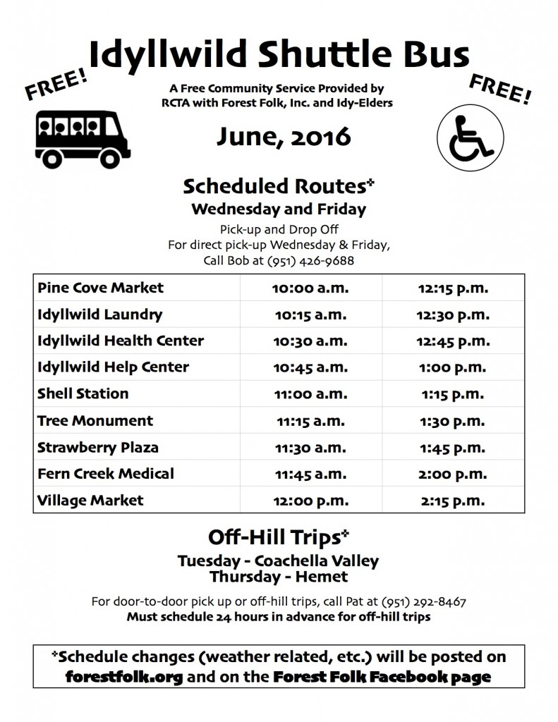 Forest Folk Bus Schedule June 2016