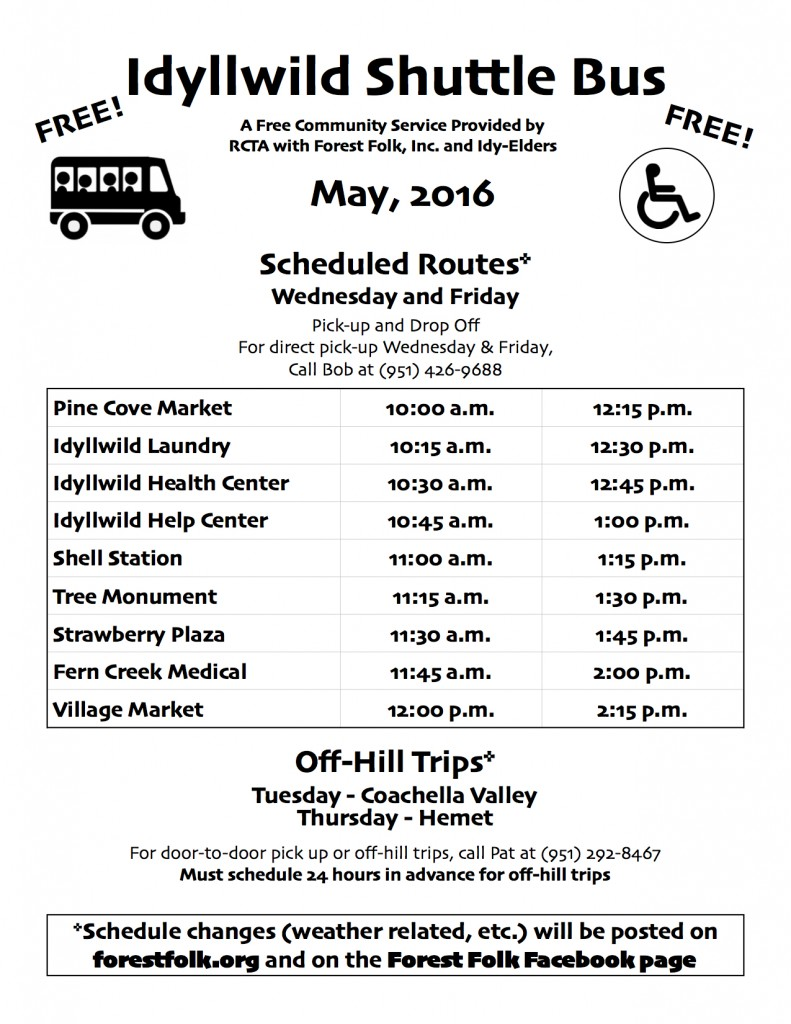 Forest Folk Bus Schedule May 2016 jpg