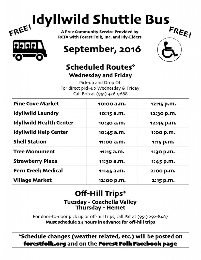 Forest Folk Bus Schedule September 2016