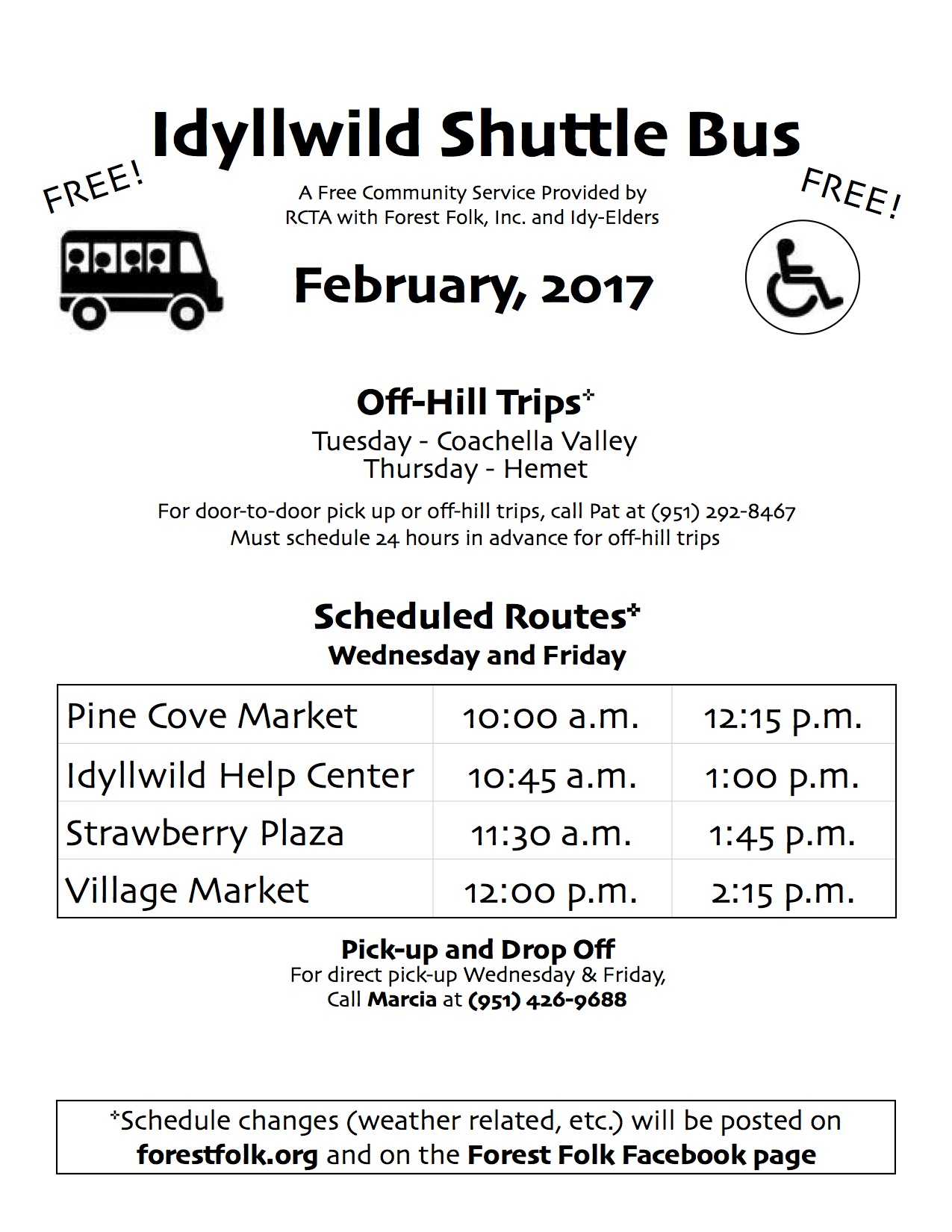 Forest Folk Bus Schedule Feb 2017