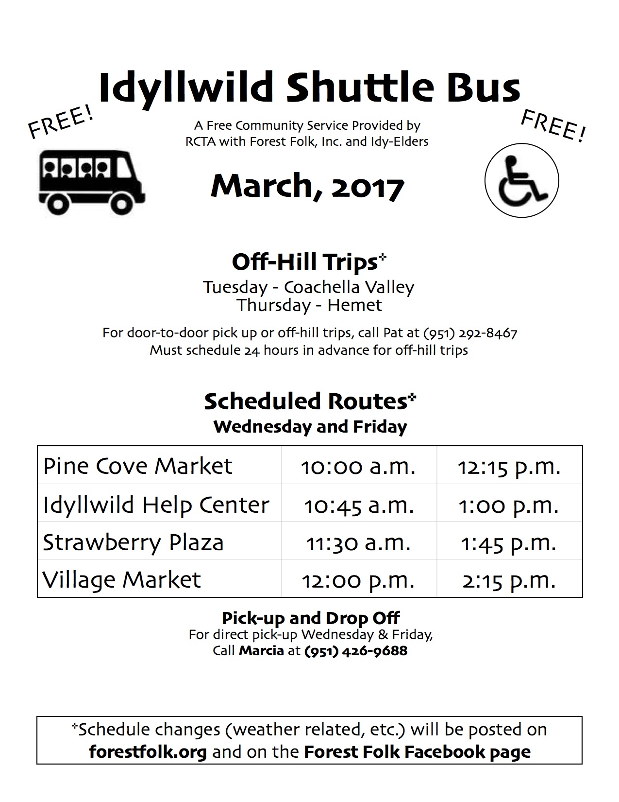 Forest Folk Bus Schedule March 2017 jpg