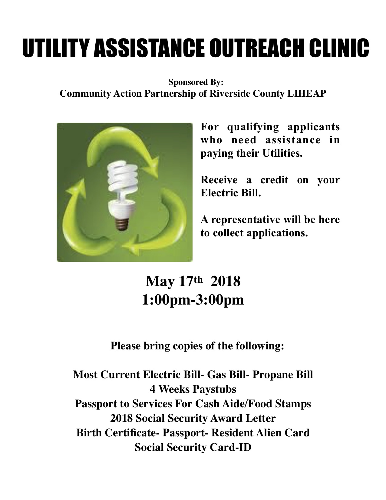 Utility Assistance Outreach Clinic May 17 2018 Forest Folk